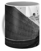 Portside Bw Queen Mary Ocean Liner Long Beach Ca Coffee Mug