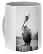 Posing Pelican - Black And White Coffee Mug