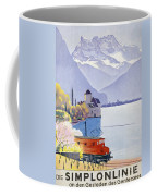 Poster Advertising Rail Travel Around Lake Geneva Coffee Mug