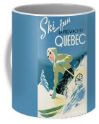 Poster Advertising Skiing Holidays In The Province Of Quebec Coffee Mug