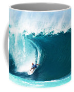 Pro Surfer Kelly Slater Surfing In The Pipeline Masters Contest Coffee Mug