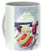 Prosciutto, Melon, Olives, Celery And A Glass Coffee Mug