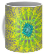 Psychedelic Spiral Vortex Yellow And Gray Fractal Flame Coffee Mug