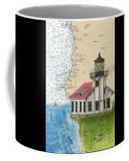 Pt Cabrillo Lighthouse Ca Nautical Chart Map Art Cathy Peek Coffee Mug