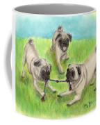 Pug Dog Playing Canine Animal Pets Art Coffee Mug