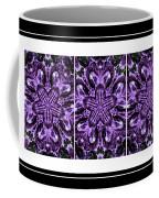 Purple Abstract Flower Garden - Kaleidoscope - Triptych Coffee Mug