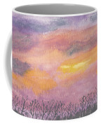 Purple And Gold November Sunset In West Michiganwatercolor Coffee Mug