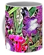 Purple And White Irises And Pink Flowers Coffee Mug