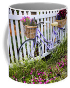 Purple Bicycle And Flowers Coffee Mug by David Smith