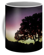 Purple Sunset Green Flash And Oak Tree Silhouette Coffee Mug