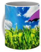 Purple Umbrella In A Field Of Corn Coffee Mug