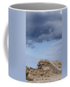 Cala Mesquida Stone Wall Against Rocks With A Stormy Sky Above - Putting Walls To Heaven Coffee Mug