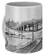 Quiet West Oakland Train Tracks With Overpass And San Francisco  Coffee Mug