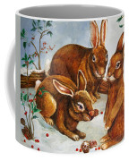 Rabbits In Snow Coffee Mug