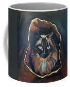Cat Painting. Ragdoll Cat The Cat's In The Bag Coffee Mug