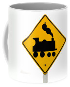 Railroad Crossing Steam Engine Roadsign On White Coffee Mug