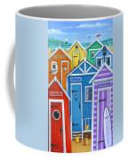 Rainbow Beach Huts Coffee Mug