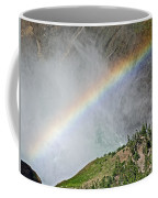 Rainbow From Spray Of Lower Yellowstone Falls Against Yellowstone Canyon Wall-wyoming  Coffee Mug