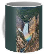 Rainbow On The Lower Falls Yellowstone National Park Coffee Mug