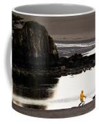 Raincoat Dog Walk Coffee Mug by John Daly