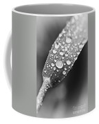 Raindrops On Grass In Black And White Coffee Mug