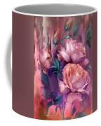 Raindrops On Peach Roses Coffee Mug