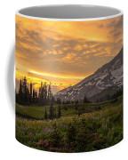 Rainier Wildflowers Meadow Sunset Coffee Mug