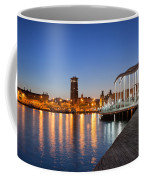 Rambla De Mar Promenade In Barcelona At Night Coffee Mug