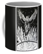 Raven Stealing Fire From The Sun - Woodcut Illustration For Corvidae Coffee Mug
