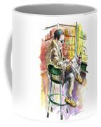 Reading El Pais And Drinking Rioja In Spain Coffee Mug