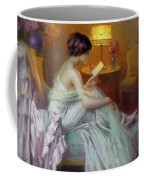 Reading In Lamp Light Coffee Mug