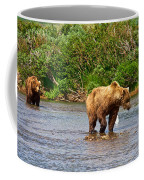 Ready To Pounce On A Salmon  In The Moraine River In Katmai National Preserve-ak Coffee Mug