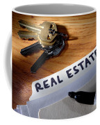 Real Estate File Folder With Marker And House Keys Coffee Mug
