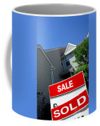 Real Estate Sold Sign And Townhouse Coffee Mug by Olivier Le Queinec