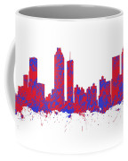 Red And Blue Art Print Of The Skyline Of Atlanta Georgia Usa Coffee Mug