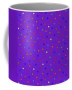 Red And Blue Polka Dots On Purple Fabric Background Coffee Mug