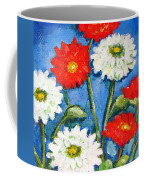 Red And White Flowers With A Blue Sky Coffee Mug