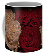 Red And White Roses Color Engraved Coffee Mug
