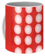 Red And White Shibori Circles Coffee Mug