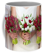 Red And White Tulip And Rose Wedding Bouquets Coffee Mug