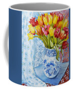 Red And Yellow Tulips In A Copeland Jug Coffee Mug by Joan Thewsey