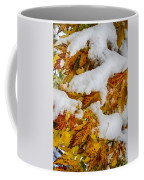 Red Autumn Maple Leaves With Fresh Fallen Snow Coffee Mug