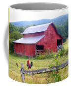 Red Barn And Rooster Coffee Mug