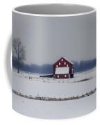Red Barn In The Snow - Gettysburg Coffee Mug
