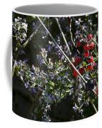 Red Berries And Violet Flowers Coffee Mug