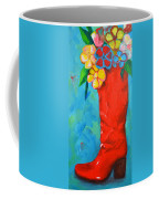 Red Boot With Flowers Coffee Mug