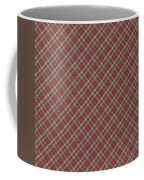 Red Brown And Green Diagonal Plaid Pattern Fabric Background Coffee Mug