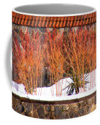 Red Bushes And Rock Wall Coffee Mug