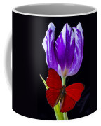 Red Butterfly And Purple Tulip Coffee Mug