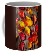 Red Butterfly In Autumn Leaves Coffee Mug